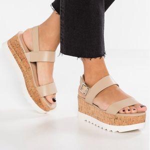 Madden Girl Sugar Nude Platform Sandals Size 8.5